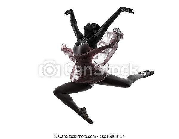Mujer bailarina bailarina bailando silueta - csp15963154
