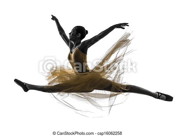 Mujer bailarina bailarina bailando silueta - csp16062258