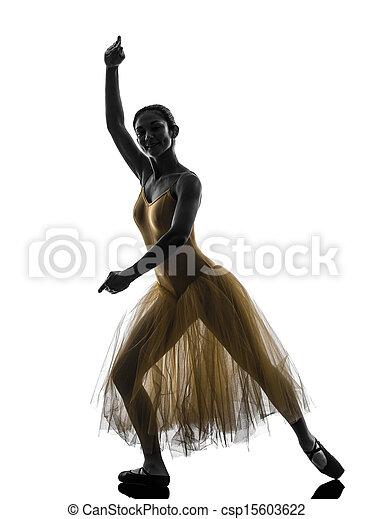 Mujer bailarina bailarina bailando silueta - csp15603622