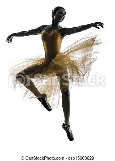 Mujer bailarina bailarina bailando silueta - csp15603629