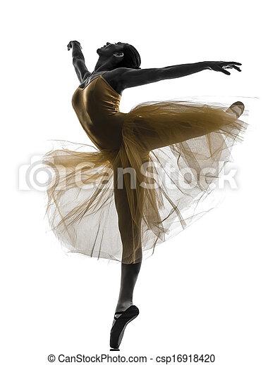 Mujer bailarina bailarina bailando silueta - csp16918420