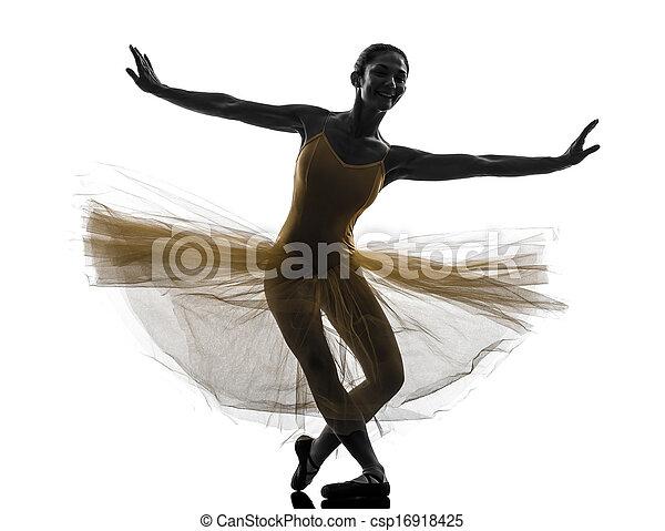 Mujer bailarina bailarina bailando silueta - csp16918425