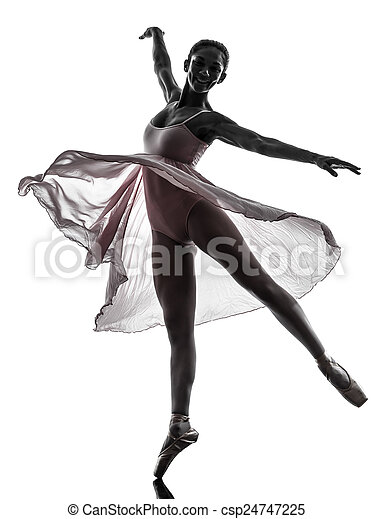Mujer bailarina bailarina bailando silueta - csp24747225