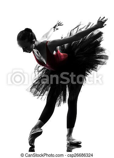 Mujer bailarina bailarina bailarina bailarina bailando silueta - csp26686324
