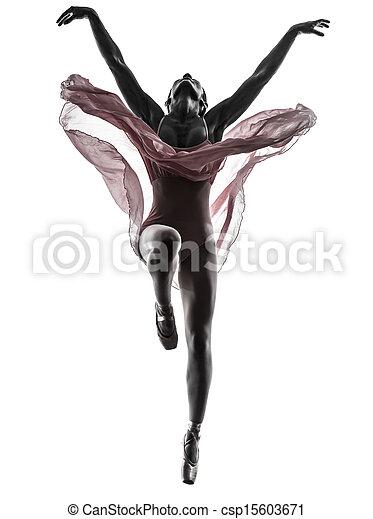 Mujer bailarina bailarina bailando silueta - csp15603671