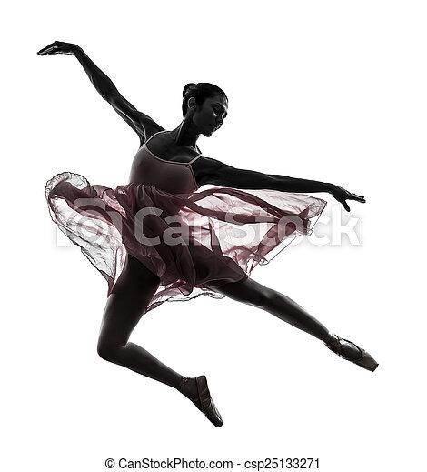 bailarina, ballet, mujer, silueta, bailando, bailarín - csp25133271
