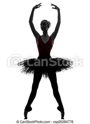 Mujer bailarina bailarina bailarina bailarina bailando silueta - csp26384778