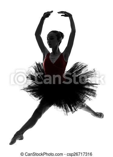 Mujer bailarina bailarina bailarina bailarina bailando silueta - csp26717316