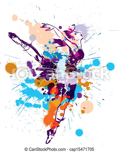 bailarina borrão coloridos dançar ilustração splashes