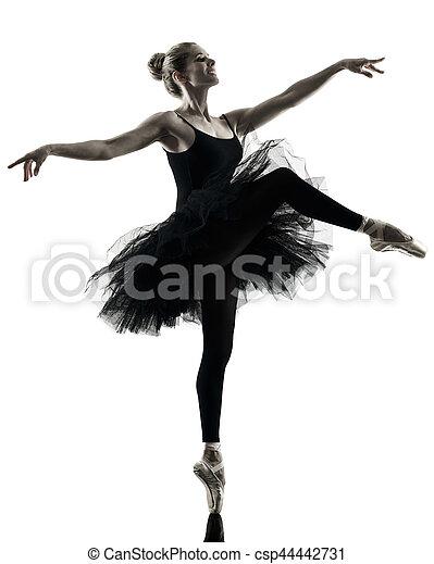 Bailarina bailarina bailarina aislada silueta - csp44442731
