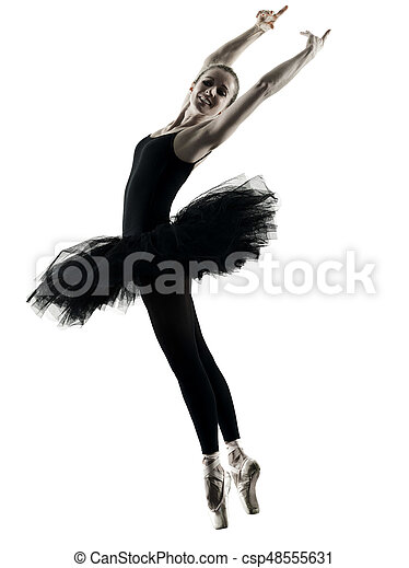 Bailarina bailarina bailarina aislada silueta - csp48555631