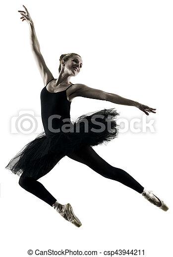 Bailarina bailarina bailarina aislada silueta - csp43944211