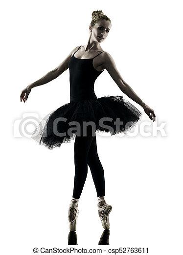 Bailarina bailarina bailarina aislada silueta - csp52763611