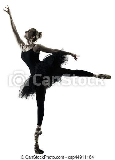Bailarina bailarina bailarina aislada silueta - csp44911184