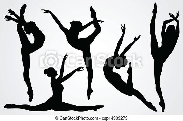 Siluetas negras de una bailarina - csp14303273