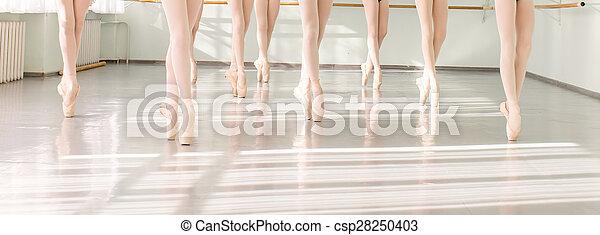 Piernas de bailarinas en danza clásica, ballet - csp28250403