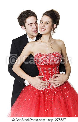 bailarines, joven, salón de baile - csp1278527