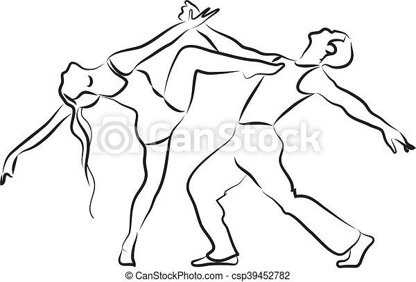 Bailarines, silueta. Contorno, baile, pareja, bailarines ...