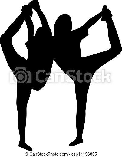 Chica bailarina vector de silueta - csp14156855