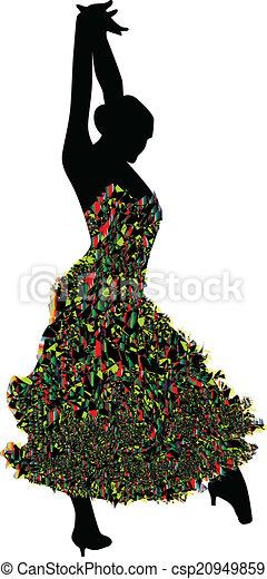Chica bailarina vector de silueta - csp20949859
