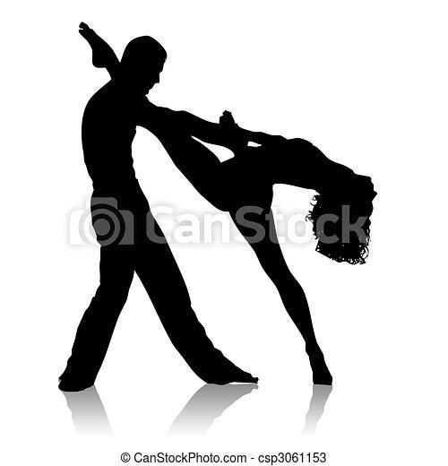 Bailes Silueta Bailando Pareja Fondo Negro Blanco