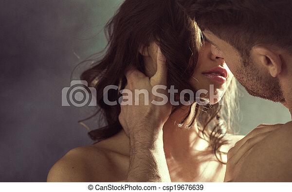 baisers, femme, sensuelles, elle, mari - csp19676639