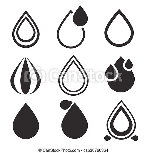 baisse eau, ensemble, icônes - csp30760364