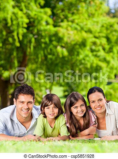 baixo, parque, mentindo, família - csp5851928