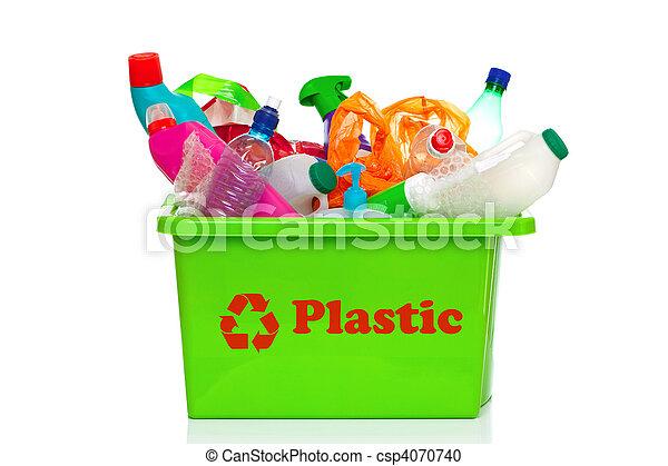 bak, recycling, vrijstaand, plastic, groen wit - csp4070740
