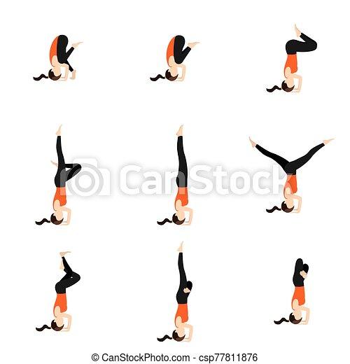 bakasana to sirsasana yoga poses set illustration