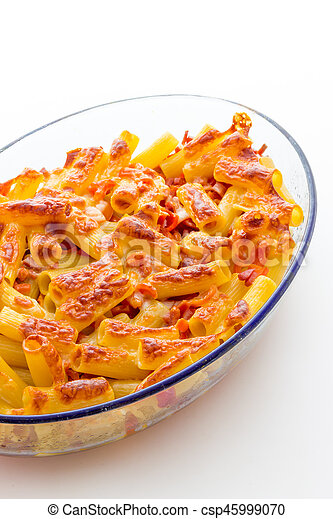 Baked macaroni cheese with tomatoes and sausage - csp45999070