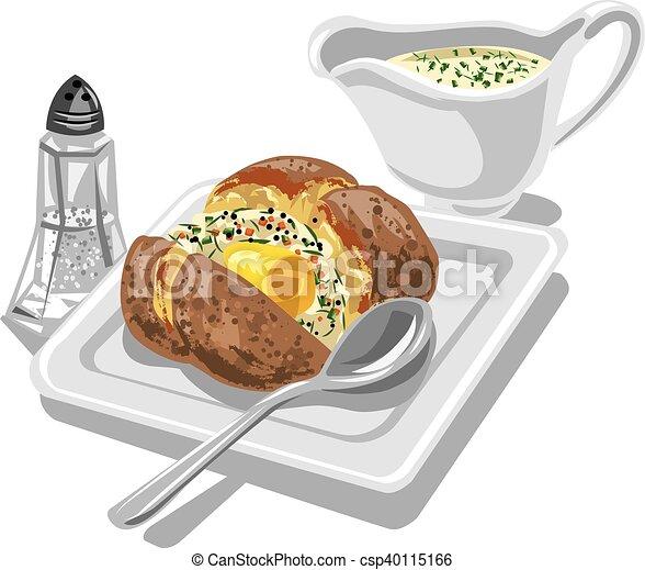baked potato with sauce - csp40115166