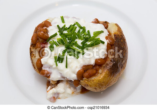 Baked Potatoe with Beans, Cottage C - csp21016934