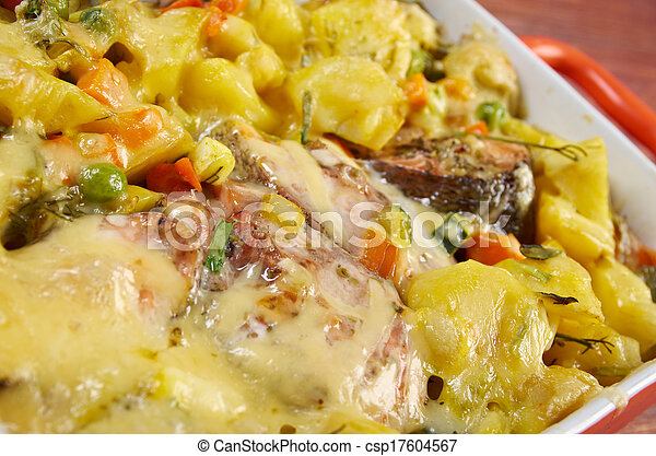 Baked trout with potatoes - csp17604567