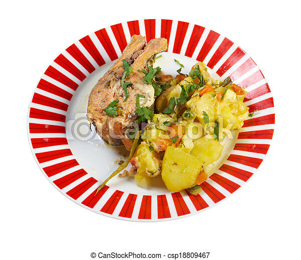 Baked trout with potatoes - csp18809467