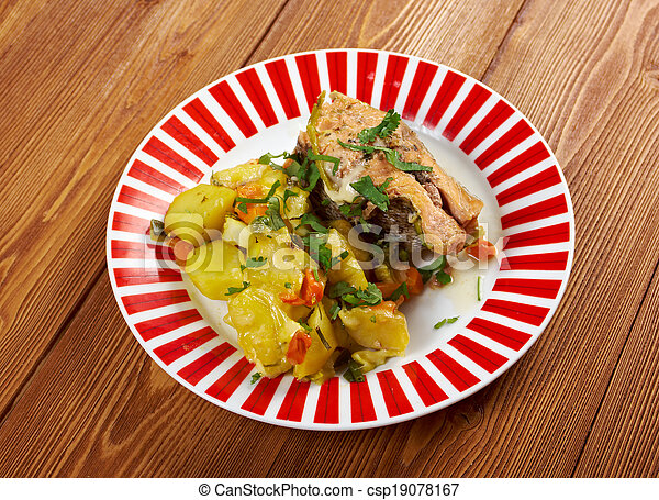 Baked trout with potatoes - csp19078167