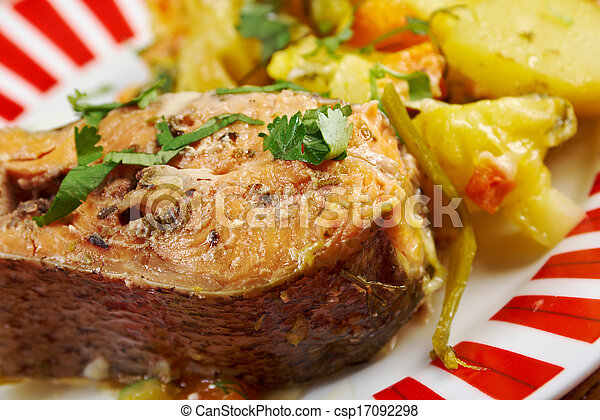 Baked trout with potatoes - csp17092298
