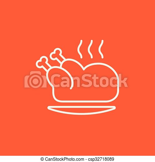 Baked whole chicken line icon. - csp32718089