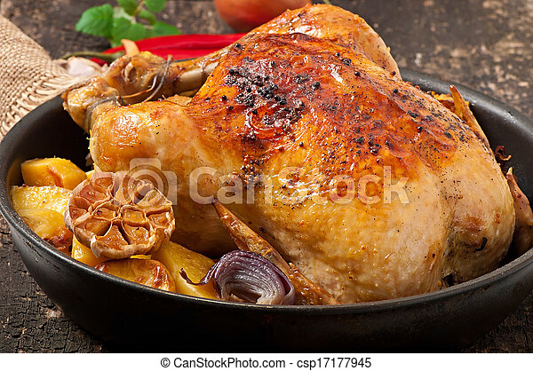 Baked whole chicken - csp17177945