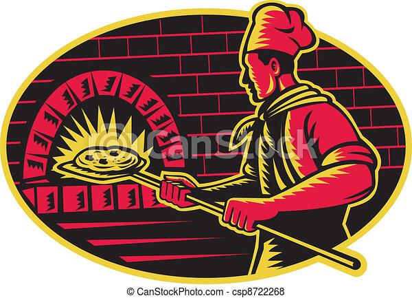 Baker Baking Pizza Wood Oven Woodc - csp8722268