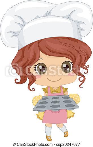 Baker Girl Illustration Of A Little Girl Wearing A Toque
