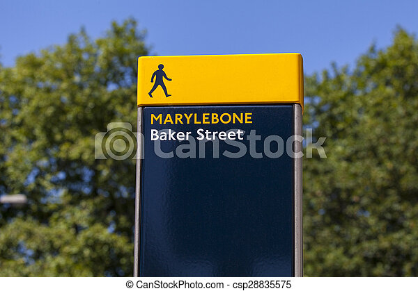 Baker Street Pedestrian Sign in London - csp28835575