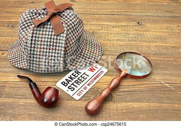 Baker Street Signboard, Sherlock Holmes Cap, Smoking Pipe and Ma - csp24675615