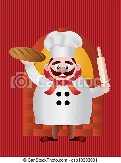 Baker with Bread and Rolling Pin Illustration - csp10303001