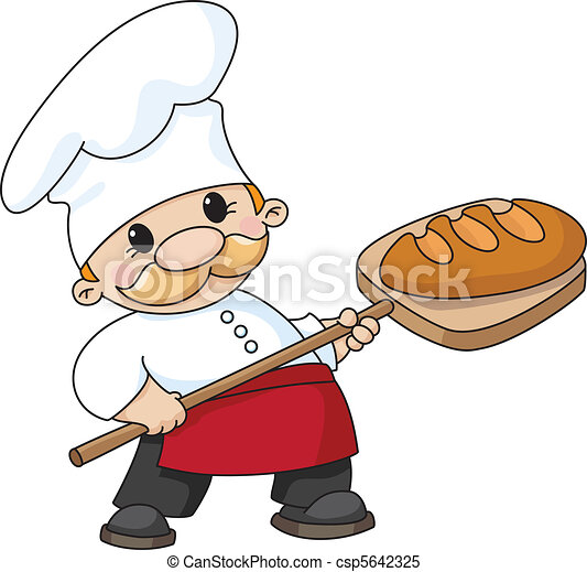 baker with bread - csp5642325