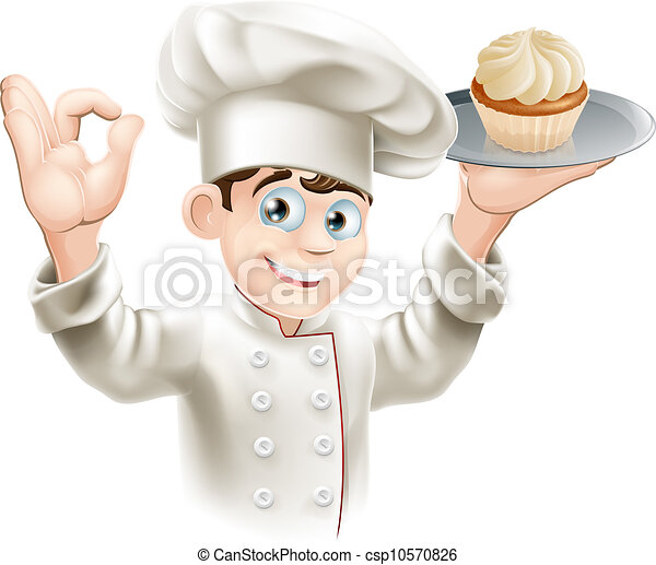 Baker with cupcake - csp10570826