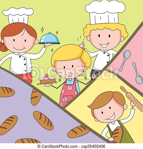 Bakers and chef in uniform - csp35455406