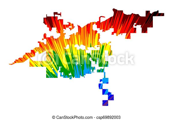 Bakersfield city (United States of America, USA, U.S., US, United States  cities, usa city)- map is designed rainbow abstract colorful pattern, City  of ...