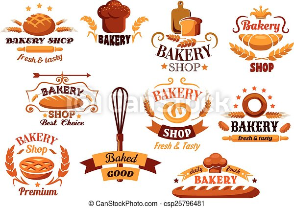 Bakery and bread symbols or banners - csp25796481