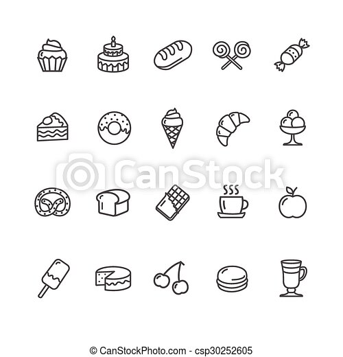 Bakery and Pastry Icons Set. Vector - csp30252605